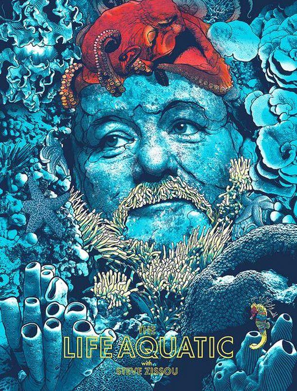 Life Aquatic with Steve Zissou (Bill Murray) | 15 superbes posters de films cultes par Joshua Budich | Ufunk.net