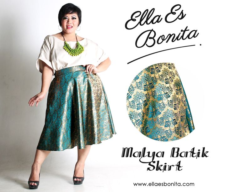 Malya Batik Skirt - This batik skirt features high quality batik cotton and songket for midi skirt which specially designed for sophisticated curvy women originally made by Indonesian Designer & Local Brand: Ella Es Bonita. Available at www.ellaesbonita.com