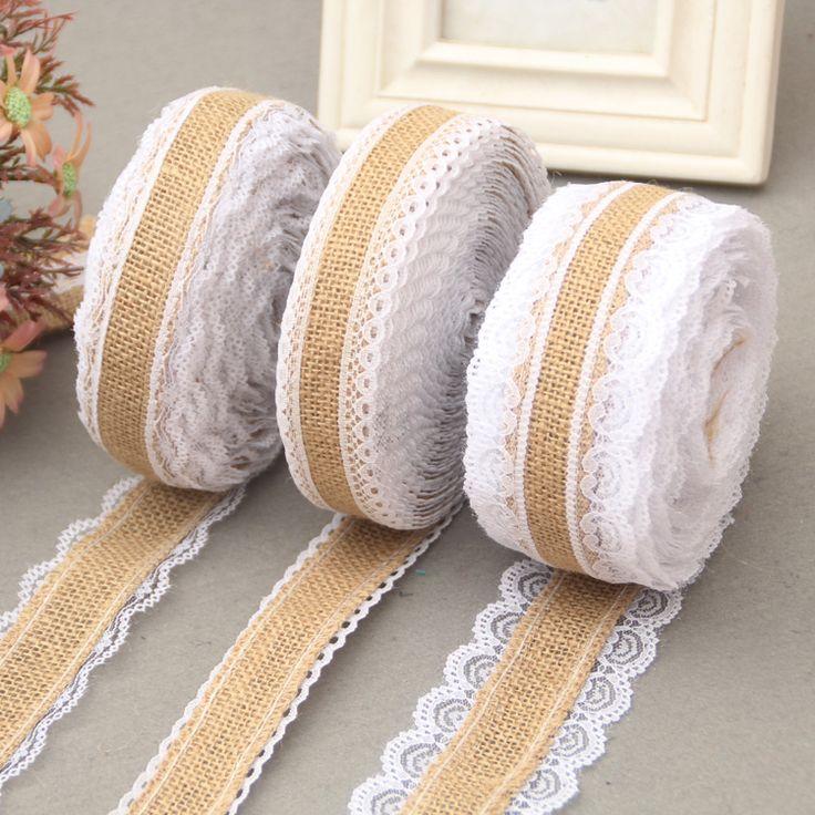 2M 5M 10M Natural Jute Burlap rolls Hessian Lace Ribbon Roll  white lace trim Edge rustic wedding vintage wedding decor