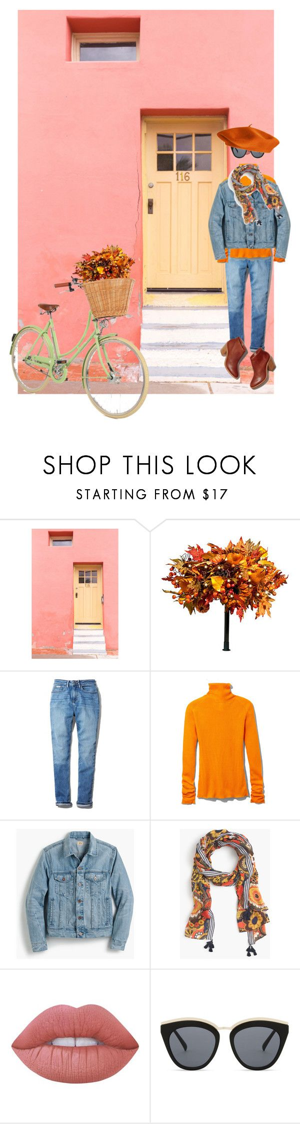 """Fall Florals on a Sunday Bike Ride"" by onesweetthing ❤ liked on Polyvore featuring Improvements, Calvin Klein, Victoria Beckham, J.Crew, Lime Crime, Le Specs, MyStyle, CalvinKlein, fallflorals and goop"