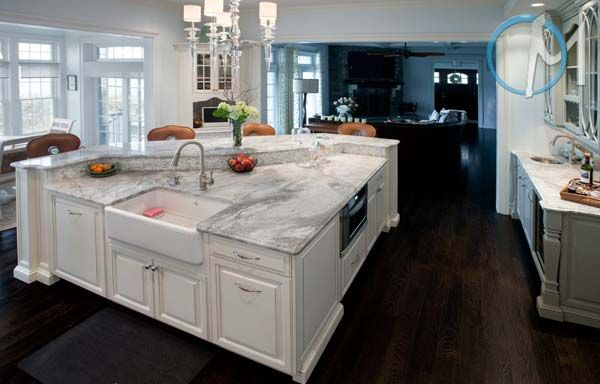 Kitchen with cabinets white river granite kitchen for White kitchen cabinets with white marble countertops