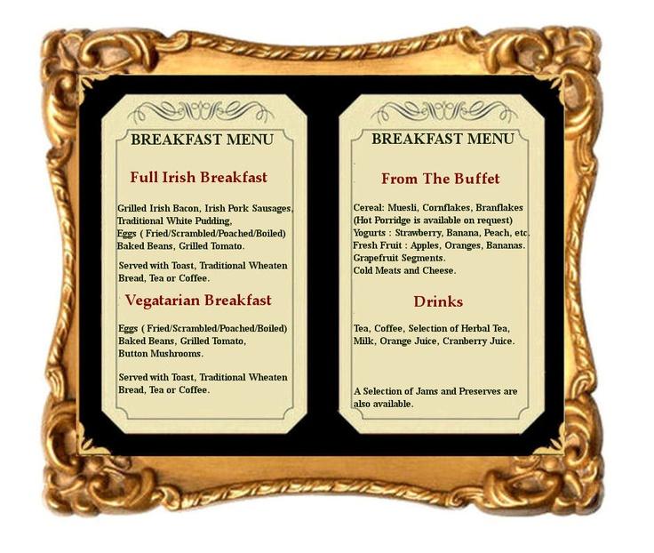The Castle Hotel Breakfast Menu | Menus | Pinterest ...