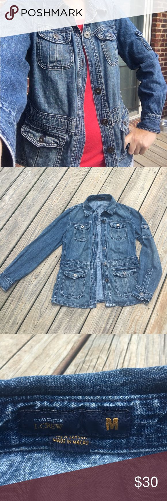 J. Crew (vintage) denim jacket This is a vintage J. Crew denim jacket.  The material is very soft, light-weight, and unstructured.  100% cotton.  *Please note: It is missing one button (third from top) as shown in picture.  I kept meaning to take to a dry cleaners to see about repair but never got around to.... Should not be too hard of a fix.  Has side adjusters to create a looser or more fitted look.  From smoke and pet free home. J. Crew Jackets & Coats Jean Jackets