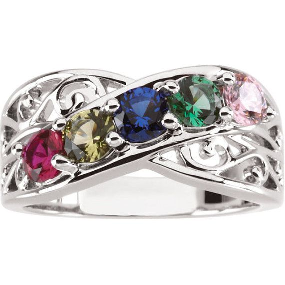 Filigree Lined Family Birthstone Mother's Ring with 1 2 3 4 or 5 Stones in Sterling Silver; Continuum S; 10k, 14k White, Yellow or Rose Gold