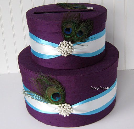 Peacock Wedding Card Box  handmade and by LaceyClaireDesigns, $99.00