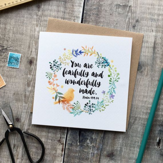 You Are Fearfully and Wonderfully Made - Christian Cards - Dedication Card - New Baby Card - Baptism Card - Bible verse card