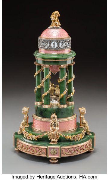 An Impressive 14K Vari-Color Gold, Diamond, Jade & Enamel Colonnade-Form Annular Clock Faberge,
