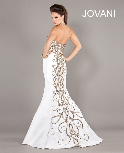 Jovani prom dresses white and gold
