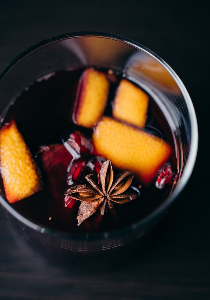 WINTER SANGRIA ~~~ fig, orange, pear, apple, pomegranate, star anise clove, cinnamon, no added sugar