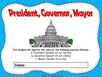 Social Studies Georgia Performance StandardThe student will identify the roles of the following elected officials: a. President (leader of our nation) b. Governor (leader of our state) c. Mayor (leader of a city) This flipbook will be great to use after you have introduced the President, Governor, and the Mayor.