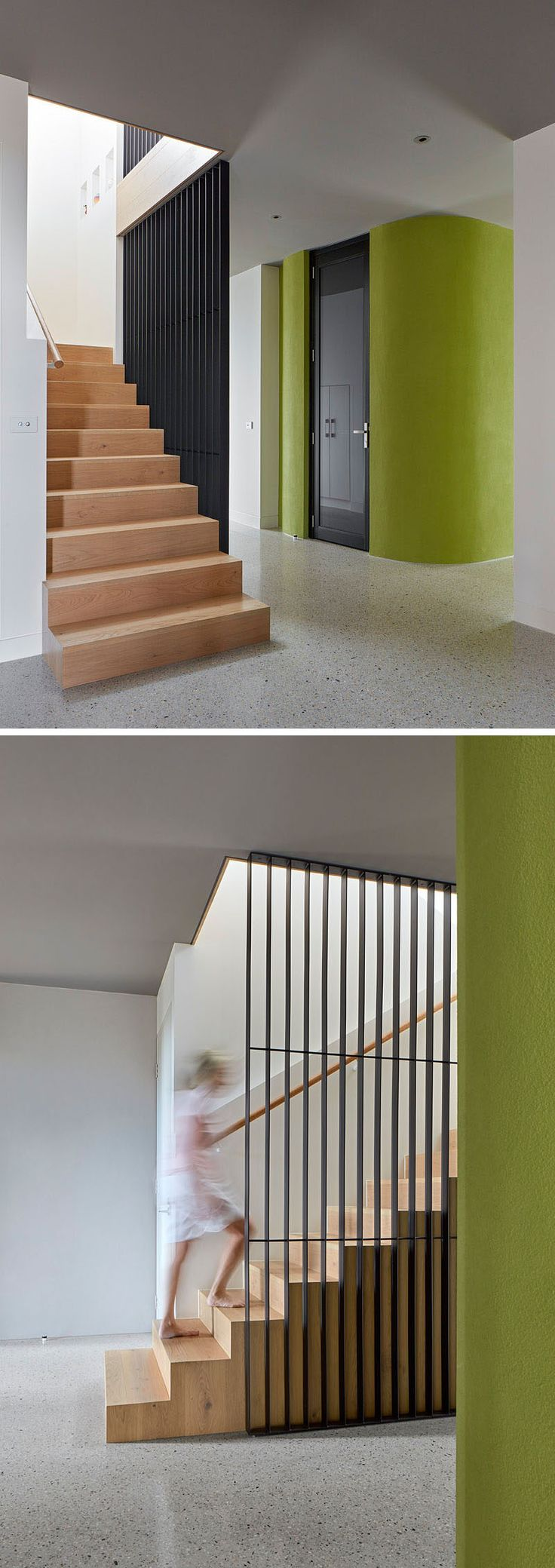 Upon entering this home, you are greeted by wooden stairs that take you up to the main living level of the house.