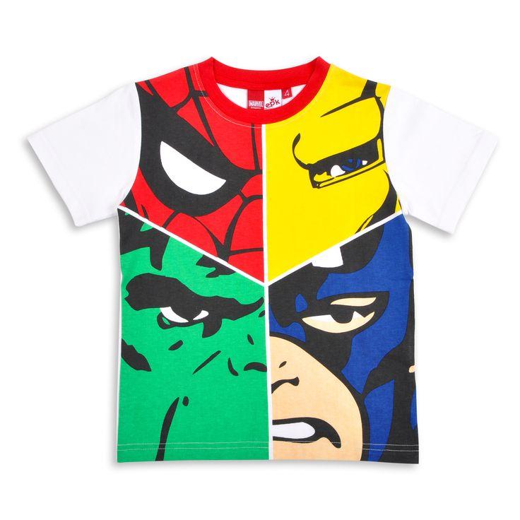 Franela EPK para niño blanca con estampado de superheroes