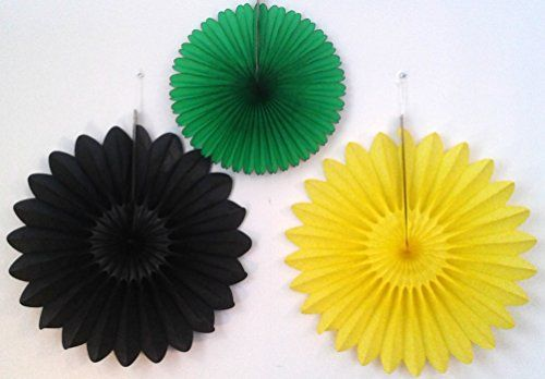 "Hello Jamaica Party Fan Collection (6 assorted fans) by Devra Party, sold on Amazon  18"" black fanburst, 18"" yellow fanburst, and 13"" dark green fan"