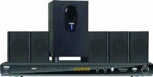 NAXA Electronics ND-855 5.1 Channel DVD Home Theater System with Progressive Scan DVD Player, Karaoke Function and USB/SD/MMC Inputs - Black by NAXA Electronics. $74.00. The ND-855 5.1 Channel DVD Home Theater System with Progressive Scan DVD Player from Naxa Electronics is a 5.1 speaker system with a DVD player. This system plays various formats of DVD/CD and a built-in SD slot. The full karaoke function brings tons of fun to any party or gathering. Naxa's mission i...