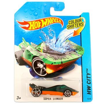 2014-es kiadású Hot Wheels City: színváltós Super Stinger kisautó, zöld-narancs színben, a HW City sorozatból. Az autó 1:64 méretarányú, fém és műanyag felhasználásával készült. M...