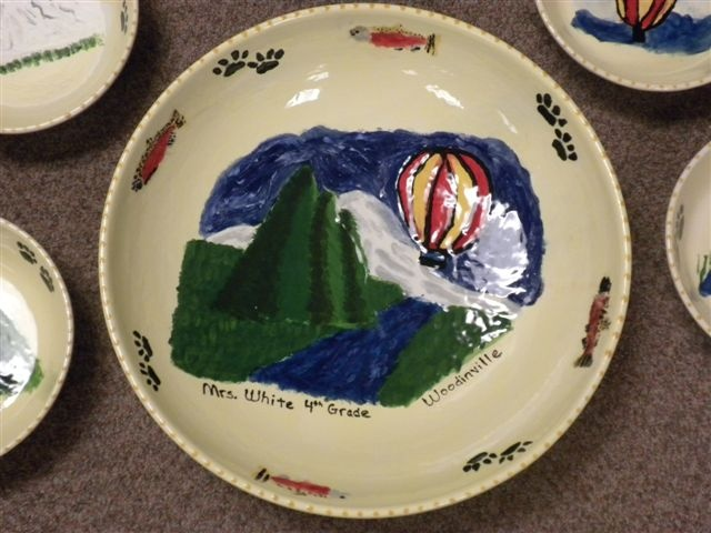 pasta bowl set- each student designed their image on paper first-then copied onto the bowls.
