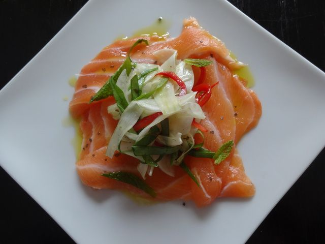 Salmon Crudo with Fennel-Mint Slaw: Salmon in its simplest form is ...