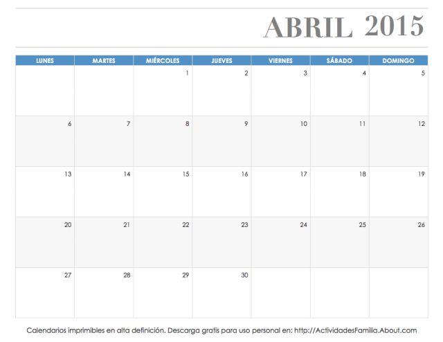 Calendario de celebraciones en Abril 2015