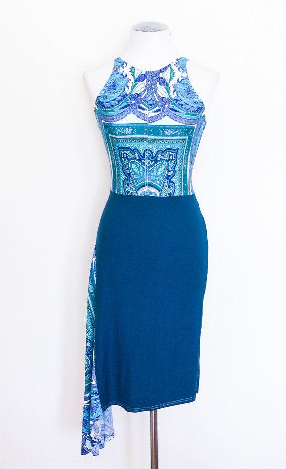 Verde azulado oscuro asimétrica falda del vestido. Vestido de tango.
