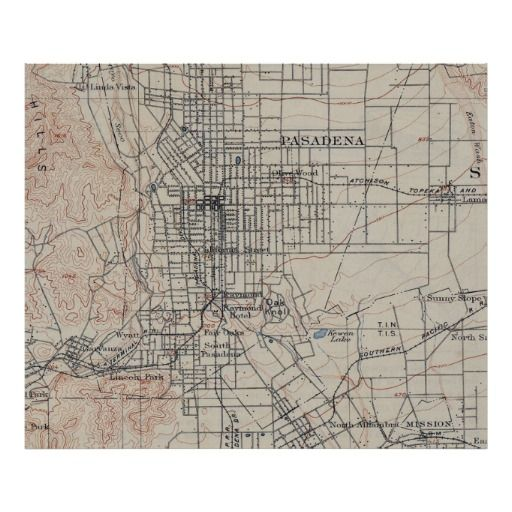 Vintage Map of Pasadena California (1894) Poster