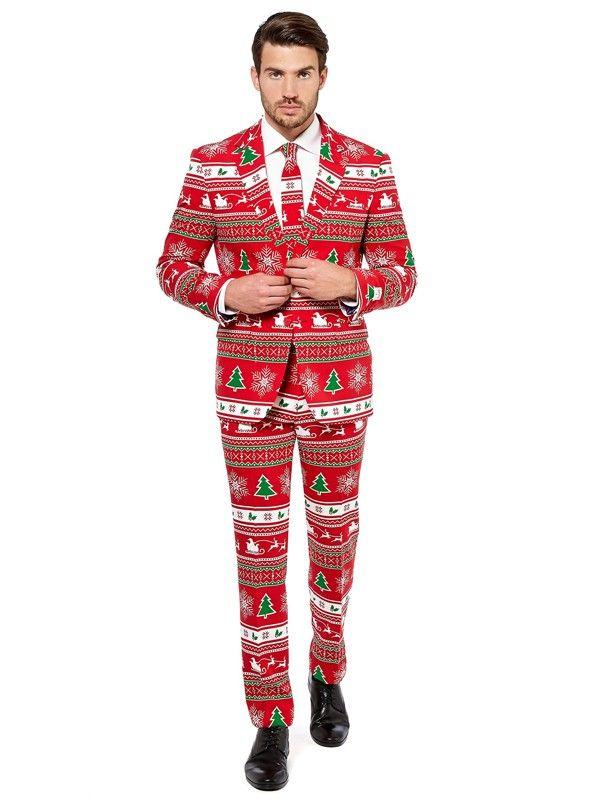 Bilde av mann i OppoSuit Winter Wonderland rød dressjakke, bukse og slips i matchende julemønster