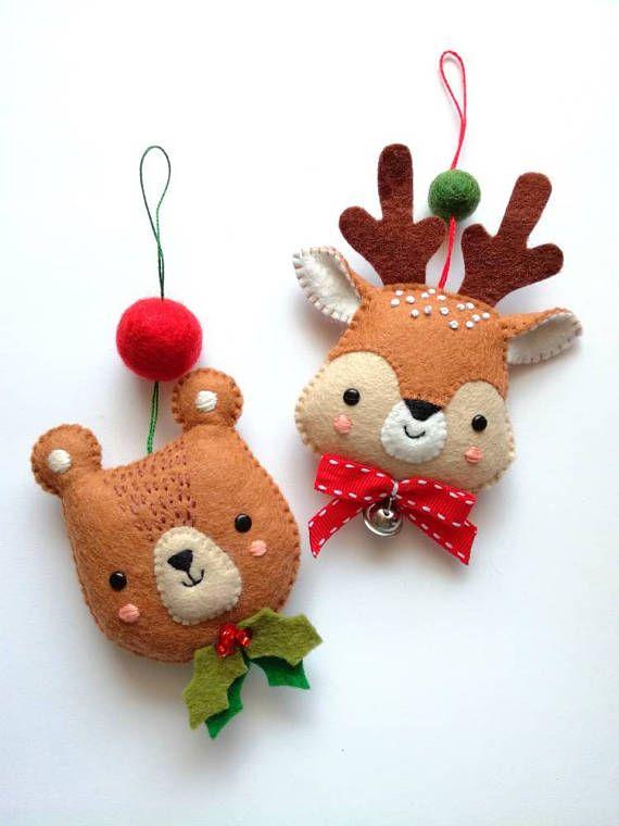 Felt PDF sewing pattern Bear and Deer ornaments Christmas