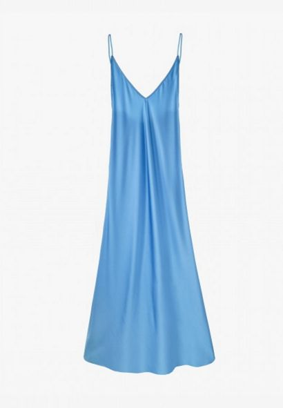 Your One-Stop Shop For The Trend Celebs Can't Get Enough Of #refinery29  http://www.refinery29.com/sleeper-online-shop-slip-dresses#slide-2  Sleeper Gwyneth Blue Slip Silk Dress, $320, available at Sleeper....