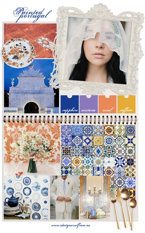 painted portugal wedding mood board inspiration by 'i do' it yourself