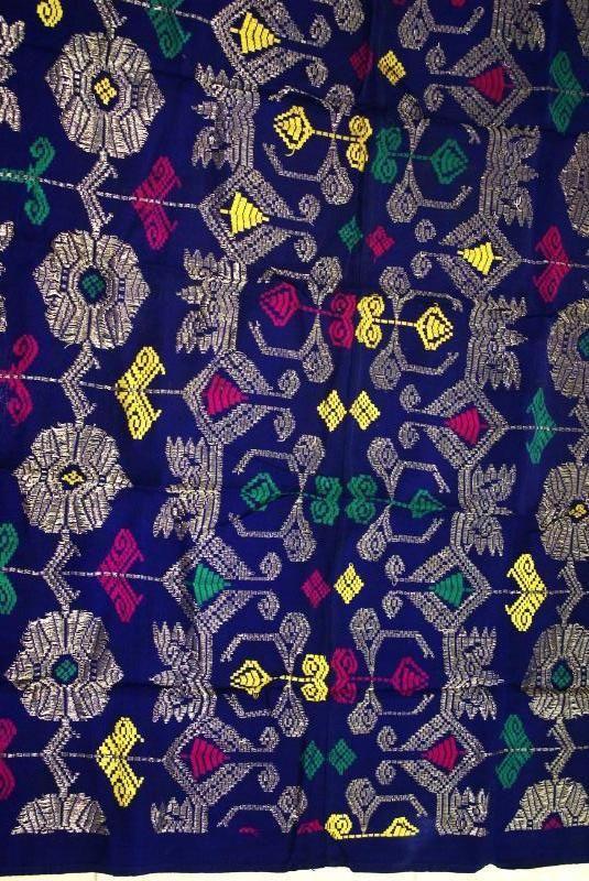 Antique Art Metallic Gold Blue Embroidery Brocade Wedding Sarong Songket