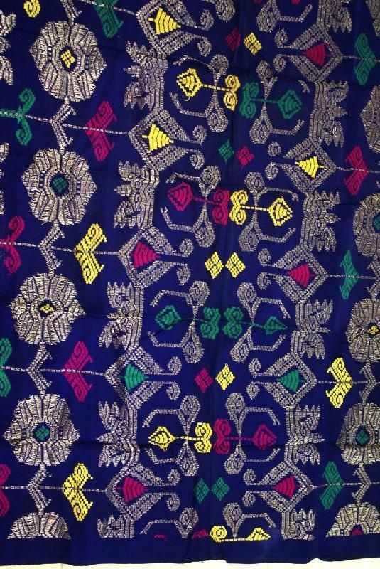 Antique Art Metallic Gold Blue Embroidery Brocade Wedding Sarong Songket