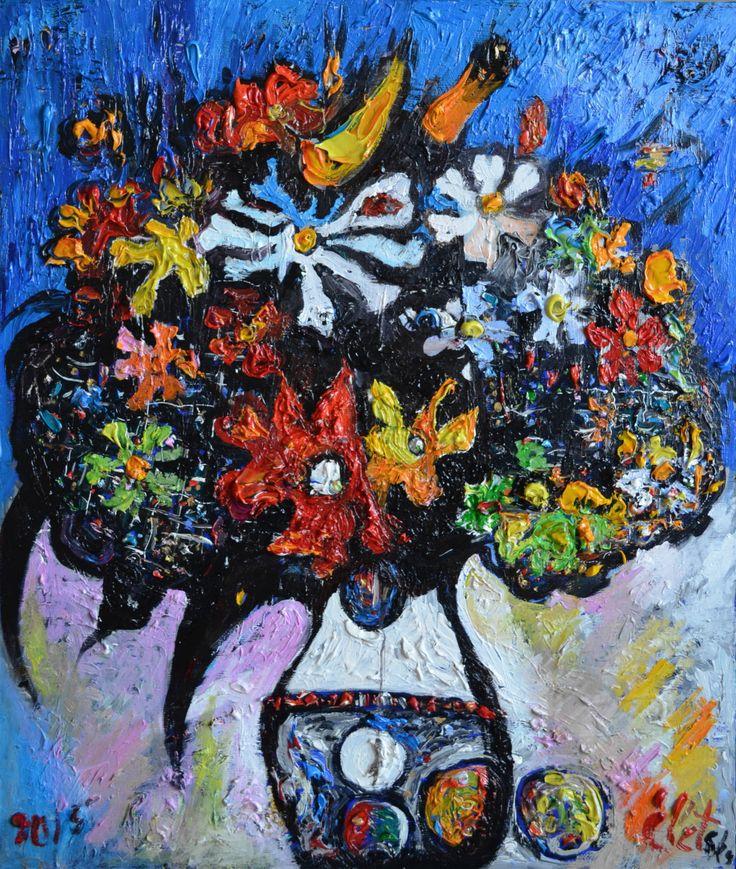 """""""Букет в белой вазе"""" 2015 х.м. 60х50  55 т.р Яркий, праздничный, радостный, никогда не увядающий букет станет самым замечательным подарком и подарит всем хорошее настроение."""
