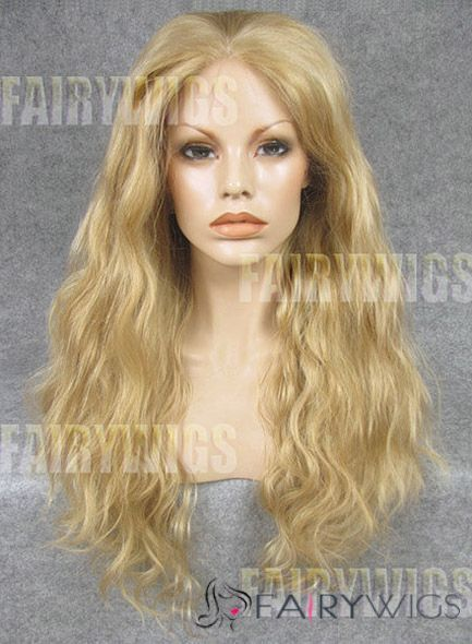 European Style Long Blonde Female Wavy Lace Front Hair Wig