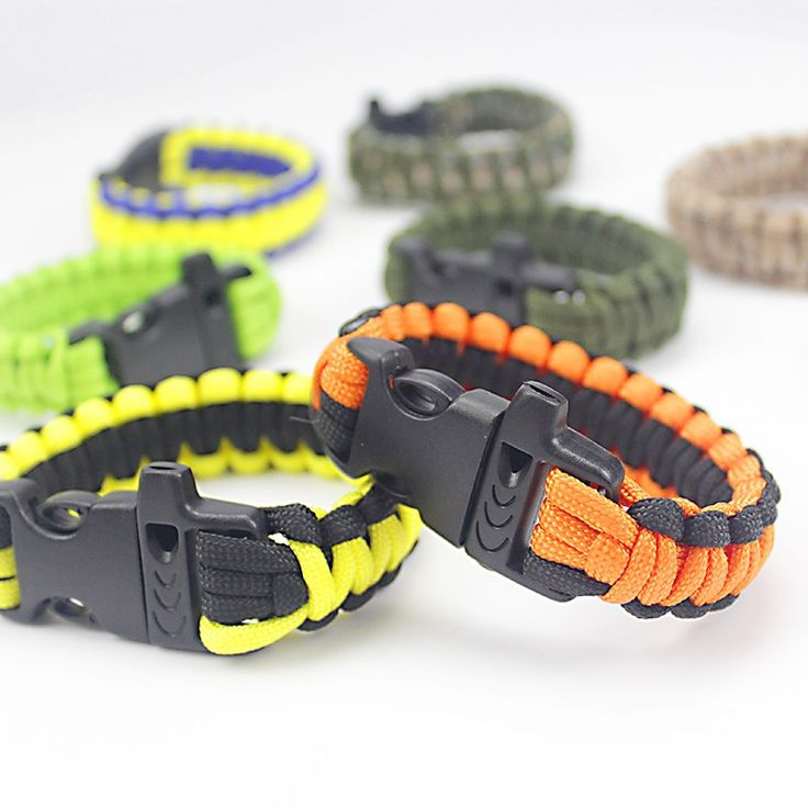 Outdoor Emergency Paracord Bracelets With Whistle Buckle Braided 550 Parachute Rope //Price: $14.99 & FREE Shipping //     #hunting #camping #outdoors #pocketdump #knives #knifeporn