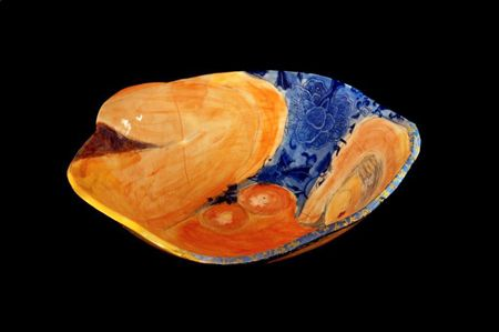 Michaela Kloeckner    Bowled Over By You  - 2013   Wheelthrown and slip cast Earthenware, ceramic under glaze colours, tissue paper print, 24ct gold lustre.   9.5(H) x 35(W)cm
