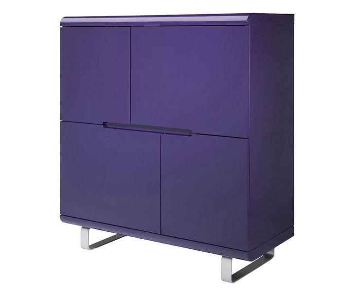 Credenza a 4 ante in mdf e metallo spacy viola - 102x116x45 cm | Dalani Home & Living