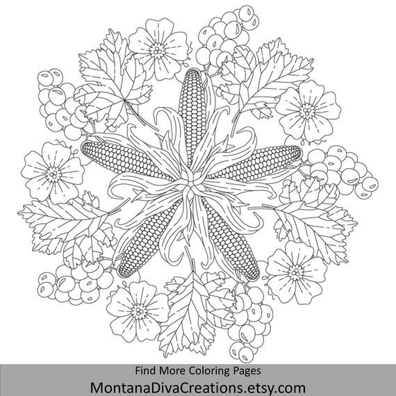 Corn Harvest Autumn Mandala Adult Coloring Page Instant