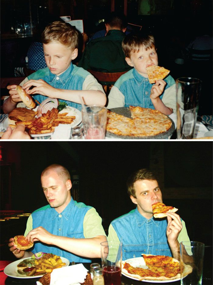 We're sure you have already heard of this viral trend of recreating childhood photos. A while ago we wrote about a photographer Irina Werning with her creative Back To The Future photo series, and about two brothers hilariously recreating their favorite childhood photos. Now we collected a list of 30 most creative childhood photo recreation shots for you to feel some childhood nostalgia or to be inspired to create your own series.