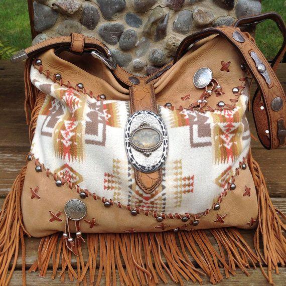 SouthWestern NuBuck Leather Hide Fringed Shoulder  Handbag  using Pendelton Wool & Vintage Findings