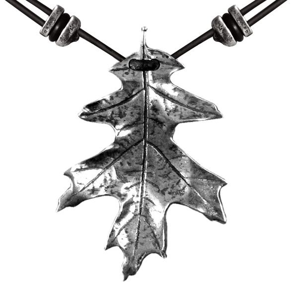 Britannia metal necklace jewelry, hung on adjustable length, quality leather cord. Hand cast in the U.S.A. by Oberon Design. - DETAILS - SIZING CLUE Weight: 6 grams Dimensions: 1 x 1 1/2 inches Produc