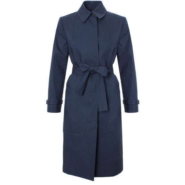 Victoria Beckham Denim Asymmetric Trench Coat ($1,160) ❤ liked on Polyvore featuring outerwear, coats, trench raincoat, blue coat, lightweight trench coat, asymmetrical coat and blue raincoat
