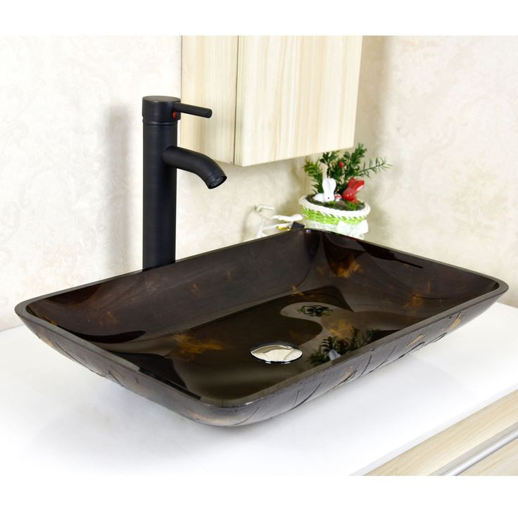 Bathroom Rectangle Tempered Glass Vessel Sink Bowl W/ Oil Rubbed Bronze Faucet #WALCUT