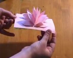 Pop-up card using one sheet of paper.