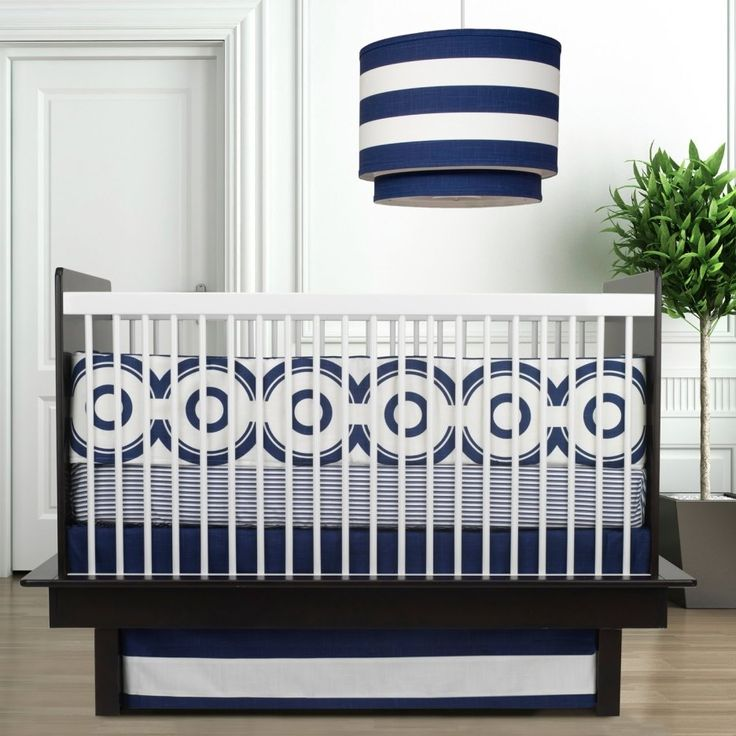 Bedroom Interior Baby Boy Bedding Set On Blue And White Color Design Laid On White And Black Wooden Baby Crib Combination With Fancy Striped Pattern Pendant Lamp With Organic Baby Crib Bedding And Mo