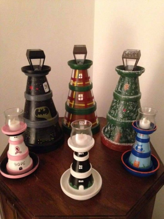 DIY Clay Pot Lighthouses Are Perfect For Garden