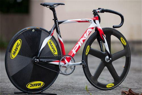 Pinarello track bike with Mavic disc and 5 spoke wheels