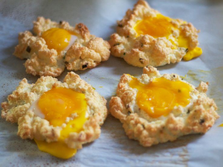 If you love your eggs over easy, then you will love these light and fluffy baked egg whites topped with anoozy egg yolk. This recipe bakes up in less than 10 minutes and creates a delightful yet s...