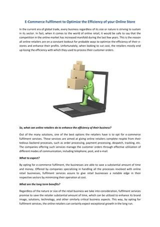 E-Commerce Fulfilment to Optimize the Efficiency of your Online Store