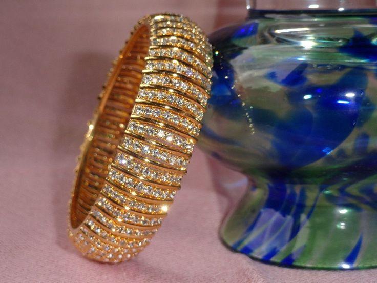 "White stone bangle. Ethnic broad bracelet- The ""Queen's Band"". Indian, – Artikrti"