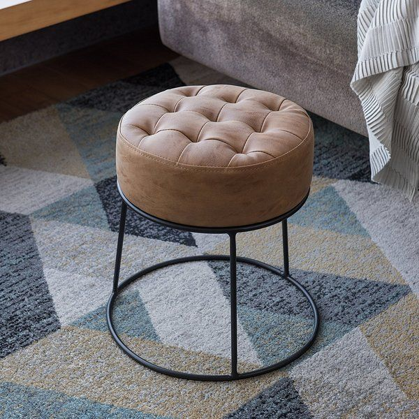 Tan And Black Summerlin Cocktail Ottoman Leather Pouf Ottoman Small Round Ottoman Ottoman