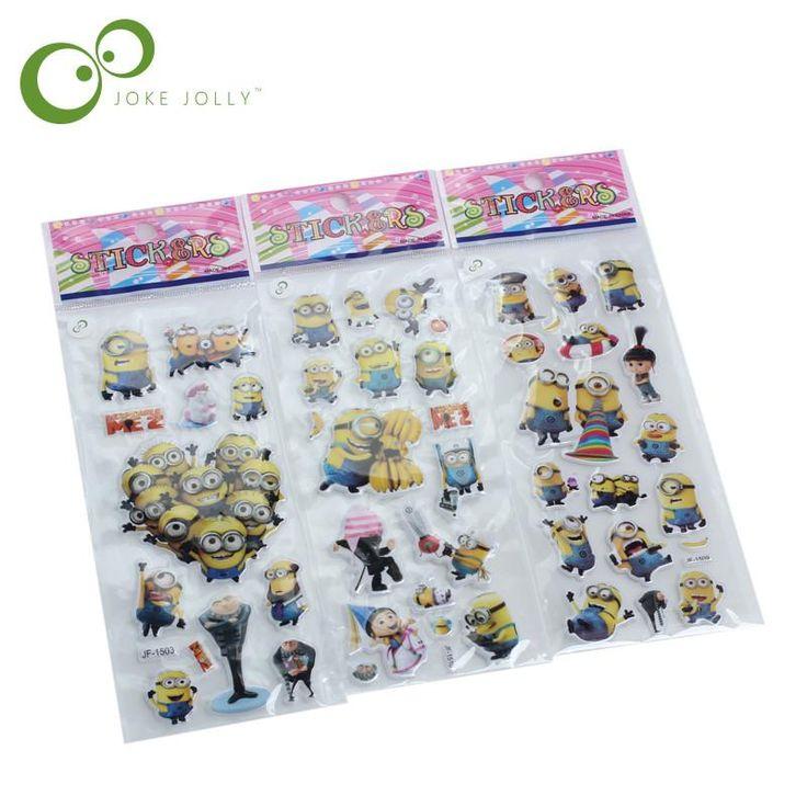 3pcs/lot Bubble Stickers 3D Cartoon the little yellow man Classic Toys Scrapbook For Kids Children Gift Reward Sticker GYH